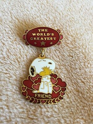 "Worlds Greatest Friend Snoopy Hugging Woodstock Aviva About 2"" Pin"