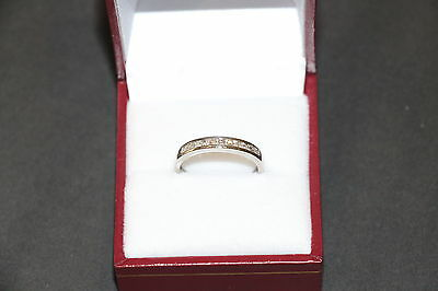 Solid 9K White Gold Diamond Wedding Band/eternity Ring