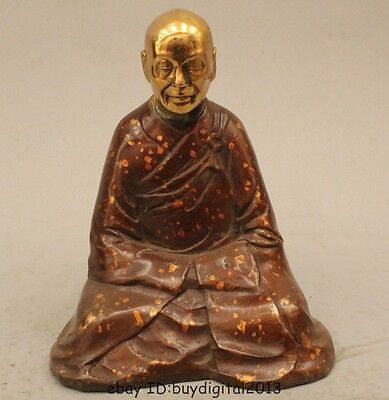 "6"" Chinese Buddhism Purple Bronze Buddhist Monk Bonze Shaveling Statue Sculpture"