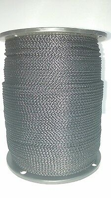 "Solid Braid Rope (#3)  3/32"" x 1000ft  Black Utility Cord"