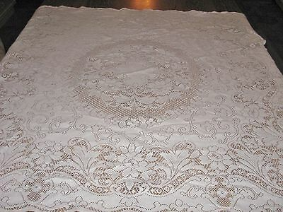 "Vintage Antique White 100% Cotton Lace Tablecloth - 46""x 45"""