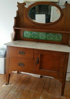 Antique Mirrored Sideboard/dresser With Marble Top