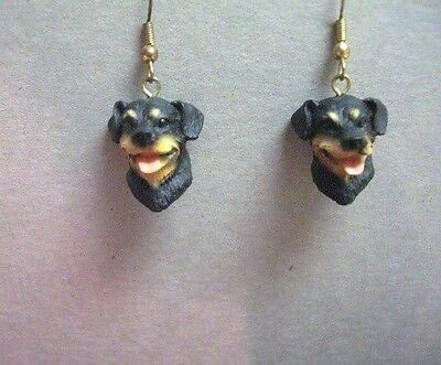 Rottweiler Dangle Fish hook Earrings ~ Dog Collectible