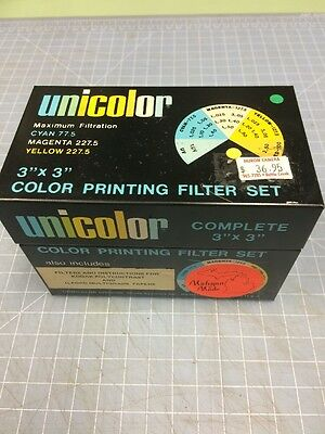 """Set of 3x3"""" Unicolor color printing filters with metal box"""