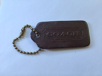 Vintage Coach Brown Leather Purse Charm hangtag keychain FOB