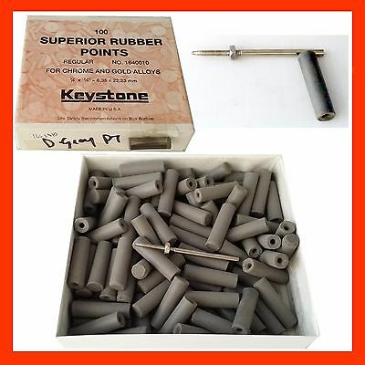 Rubber Cylinder Points Gray Keystone USA Polishing 100pc +Mandrel 1640010 Dental