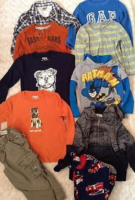 Lot Of 10 Pieces Boys Clothes Sz 3T 4T 3 4 Toddler Long Sleeves Tops Shirts Play