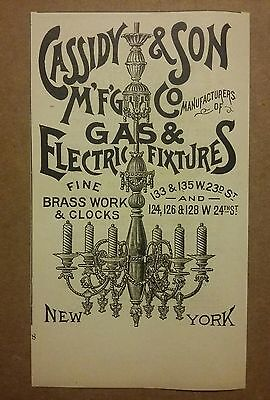 1890 Cassidy & Son MFG Co Gas & Electric Light Fixtures Ad
