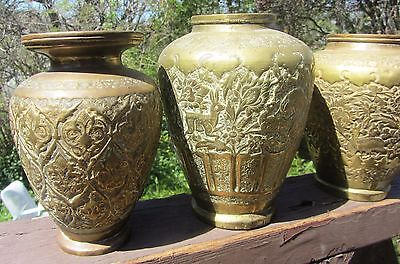 3 19Th Century Antique Brass & Copper Chased Vases Persian Islamic Hunting