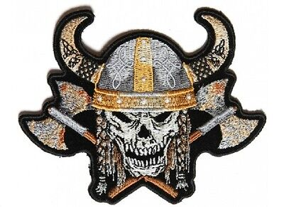 """(L02) VIKING SKULL with AXES & HORNED HELMET 11"""" x 8.5"""" iron on BACK patch (4954"""
