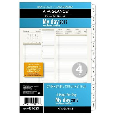 Day Runner Daily / Monthly Planner Refill 2017 Two Page Per Day 5-1/2 x 8-1/2...