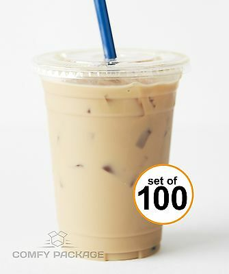 100 Sets 16 oz. Plastic CRYSTAL CLEAR Cups with Flat Lids [by COMFY PACKAGE] ...