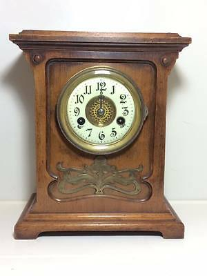 Hamburg German Clock Co art nouveau oak mantle clock