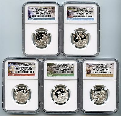 2016 S Silver Quarter Proof Set NGC PF70 First Releases National Parks 13PS