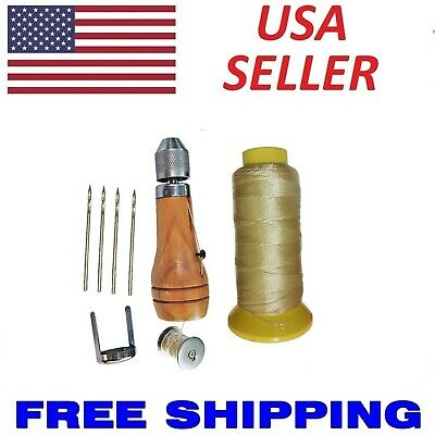 SEWING AWL Leather Canvas Repair Kit w/ 4 Steel Needles & 180 yds of Thread NEW!