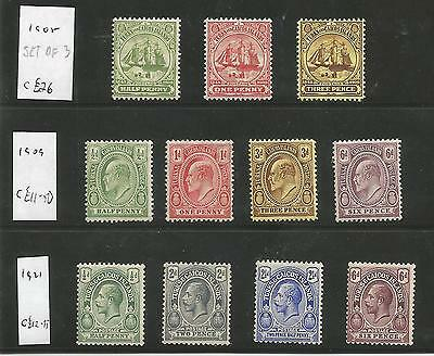 Turks & Caicos Is 1908-21 Mounted Mint Selection Inc 1908 Set Of 3 Cat £50+