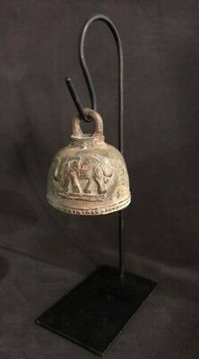 Bell Buddha Clapper Chime Elephants Head Temple Hang Stand Thai Ancient Bronze