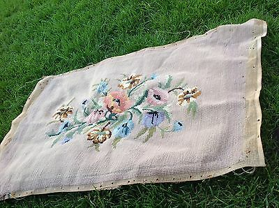 Vintage Tapestry Cross Stitch Antique Needlepoint Floral Cushion Front Seat Pad