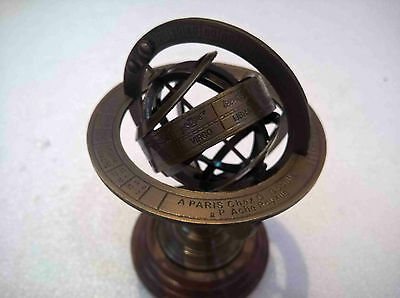 Antique Brass Armillary Globe Vintage Collectible Table Top Decor