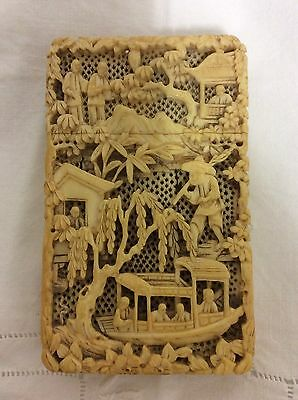 Huge 19th Century Chinese Carved Card Case. Bovine Bone. Great Detail