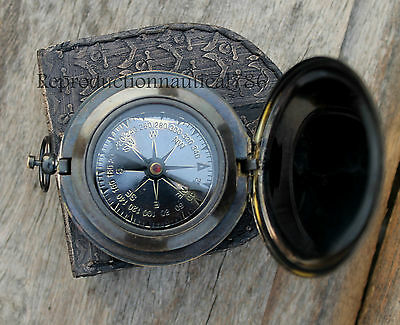 Vintage Antique Solid Brass Push Button Working Compass With Leather Case Gift