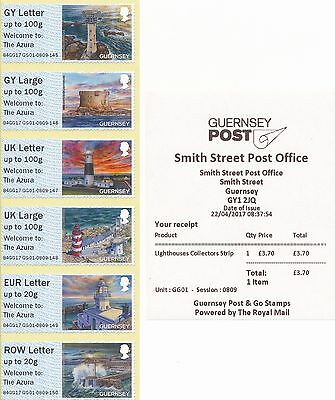 "Guernsey Post & Go Lighthouses ""Welcome to: The Azura"" collector strip & receipt"