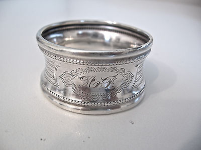 Unusual Decorated French Sterling silver napkin ring. Concave with Beaded edges