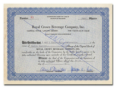 Royal Crown Beverage Company, Inc. Stock Certificate (Royal Crown Cola)