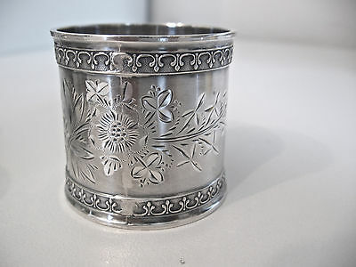 "Most outstanding very ornate Sterling silver napkin ring engraved initial ""F"""