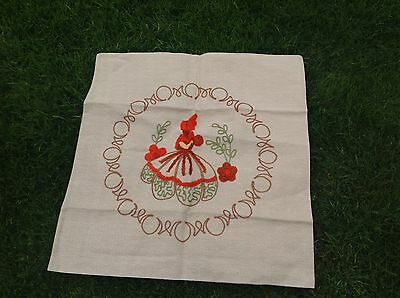 Vintage Embroidered Crinoline Lady Old Cushion Cover Handmade Lovely Detailing