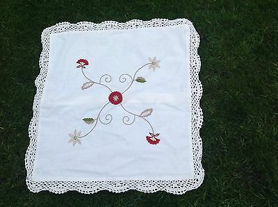 Vintage Antique Whitework Embroidered Lace Old Cushion Cover Lovely Detailing