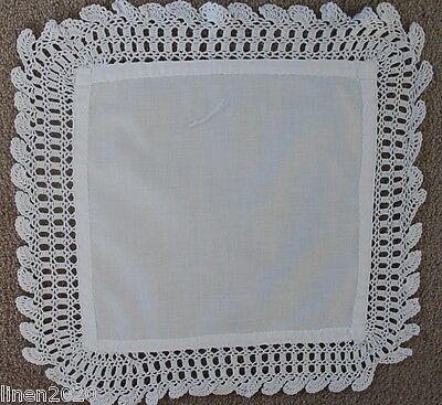 Vintage white square cloth with crochet edge.
