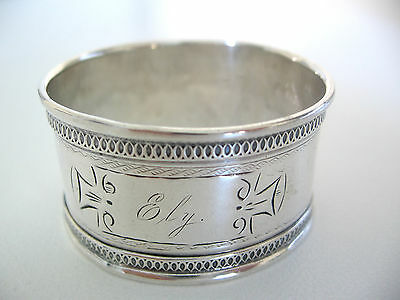Unusual antique Sterling silver napkin ring engraved ELY