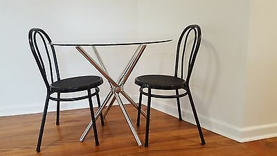 Small Glass Round Dining Table with two chairs