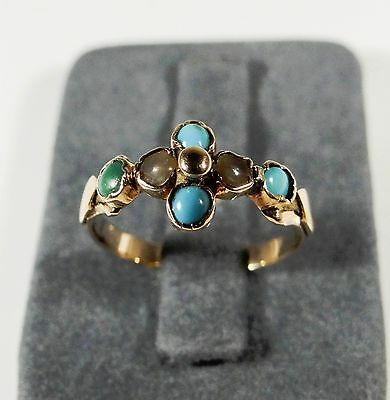 ANTIKER GOLDRING 14 KARAT ANTIKSCHMUCK SPÄTBIEDERMEIER 16,8mm TURQUOISE AS108
