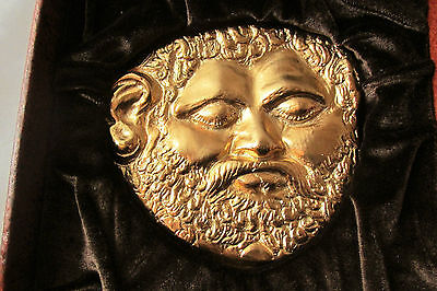 Luxurious Thracian Gold Mask of King Teres I 5-4 C.BC.24 carat gold plated