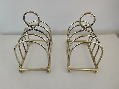 Lovely Pair Of Antique English Solid Sterling Silver Toast Racks - 1913