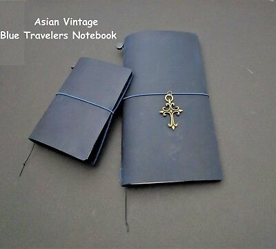 Blue Edition Midori Style Travelers Notebook Genuine Leather Refillable Diary