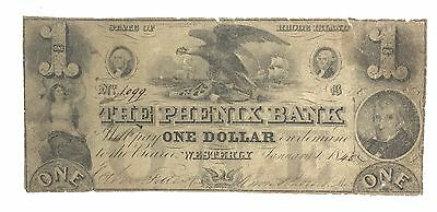1845 $1 THE PHENIX BANK STATE OF Rhode Island WESTERLY Obsolete Currency 1099