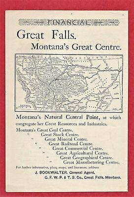 1892 Print Ad GREAT FALLS ~  MONTANA'S GREAT CENTER ~ MAP