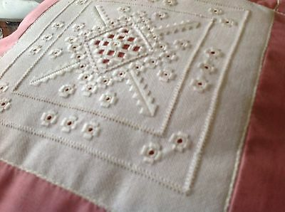 Vintage Linen Embroidered Cushion Shabby Chic Old Linen Lace Insert