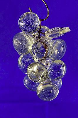 Retro Vintage Czech Type Cluster Of Clear Colored Grapes Clear Glass Leaf