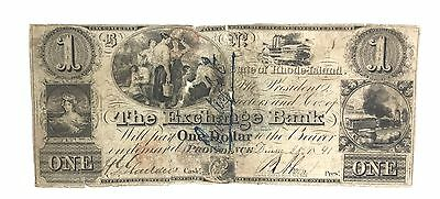 1841 $1 THE EXCHANGE BANK STATE OF Rhode Island Providence Obsolete Currency