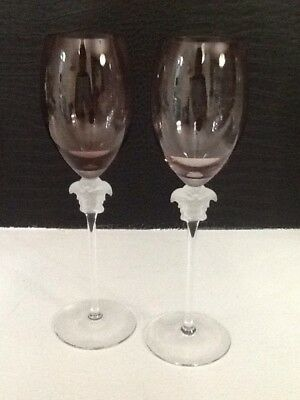 22d5a45f070 PAIR OF VERSACE MEDUSA WINE GLASSES -AMETHYST...ROSENTHAL 10 1 4 ...