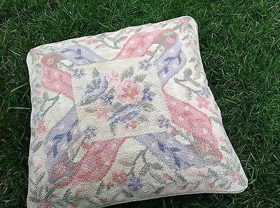 Vintage Tapestry Cross Stitch Needlework Floral Cushion Cover Embroidery Sewing