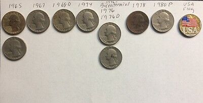 10 Lot Washington Quarters 1965, 1967, 1968, Bicentennial 1976 + D, 1978, 1980 P