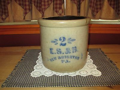 Beautiful Antique 2 Gallon Salt Glazed Crock, E. S. & B. New Brighton, Pa