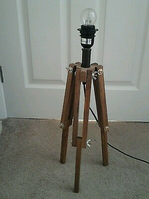 Modern wooden industrial /nautical style tripod table lamp
