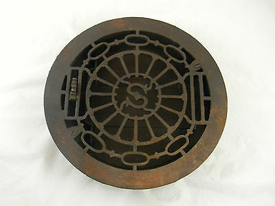 "Antique Cast Iron Floor Grate Register Operable Dampers 10-1/2"" Round"
