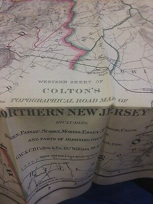 1886 Colton's Topographical map Northern New Jersey